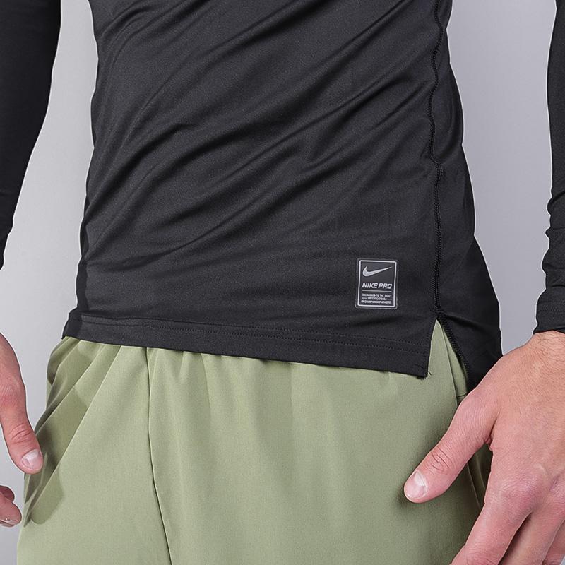 мужской чёрный  лонгслив nike compression ls top 703088-010 - цена, описание, фото 3