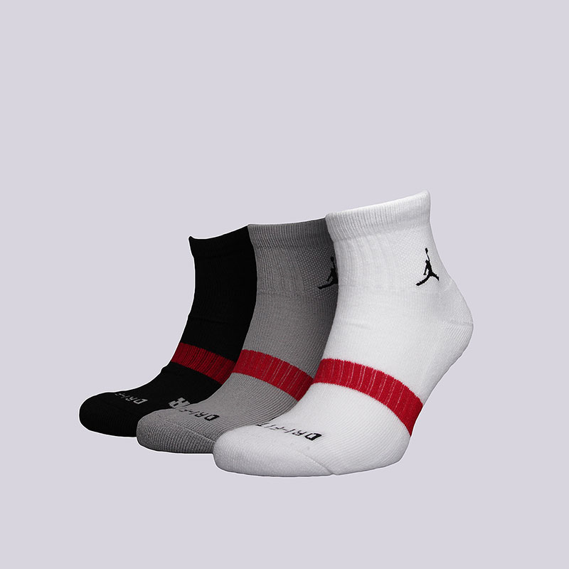 Носки Jordan Dri-Fit Low QTR 3PPKНоски<br>Полиэстер, нейлон, эластан<br><br>Цвет: Белый, серый, чёрный<br>Размеры US: XL<br>Пол: Мужской