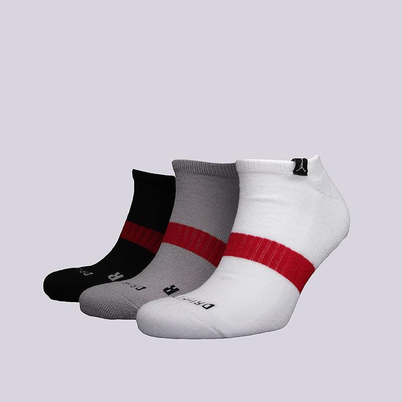 Носки Jordan Dri-Fit No-Show 3PPKНоски<br>Полиэстер, нейлон, эластан<br><br>Цвет: Белый, серый, чёрный<br>Размеры US: M;L;XL<br>Пол: Мужской