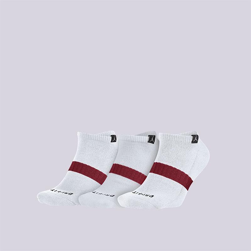 Носки Jordan Dri-Fit No-Show 3PPKНоски<br>Полиэстер, нейлон, эластан<br><br>Цвет: Белый<br>Размеры US: L<br>Пол: Мужской