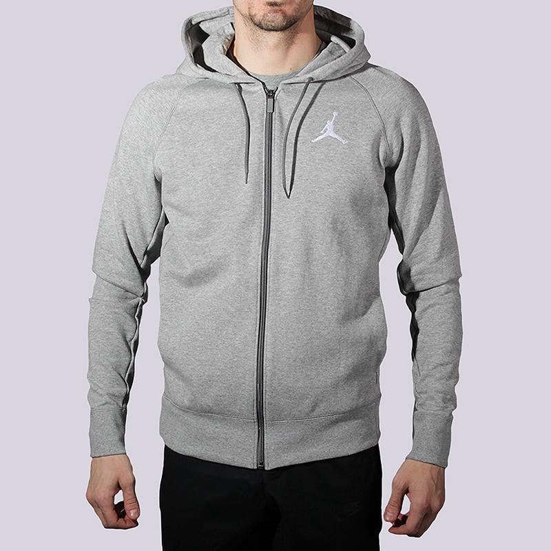 Толстовка Jordan Flight Lite FZ HoodieТолстовки свитера<br>82% хлопок, 18% полиэстер<br><br>Цвет: Серый<br>Размеры US: S;M;L;XL<br>Пол: Мужской