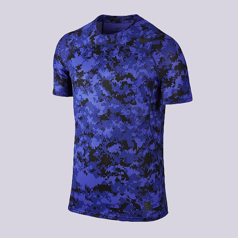 Футболка Nike M NP HPRCL Top SS FTTD D CamoКомпрессионное белье<br>Полиэстер, эластан<br><br>Цвет: Синий<br>Размеры US: S;M;L<br>Пол: Мужской