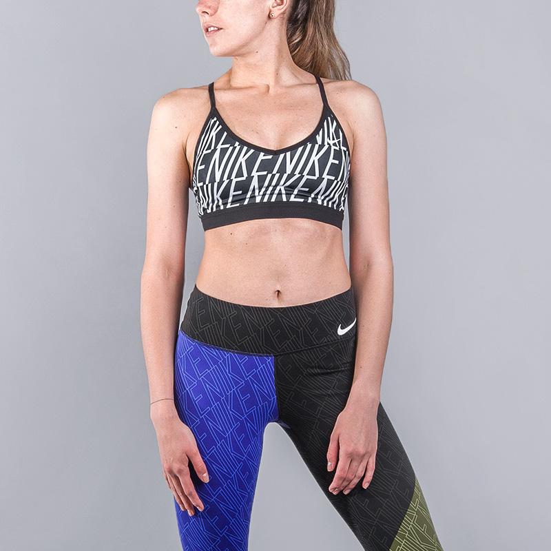 Топ Nike INDY BLOCK LOGO BRAБелье<br>Полиэстер, эластан<br><br>Цвет: Черный белый<br>Размеры US: XS;S;M;L<br>Пол: Женский