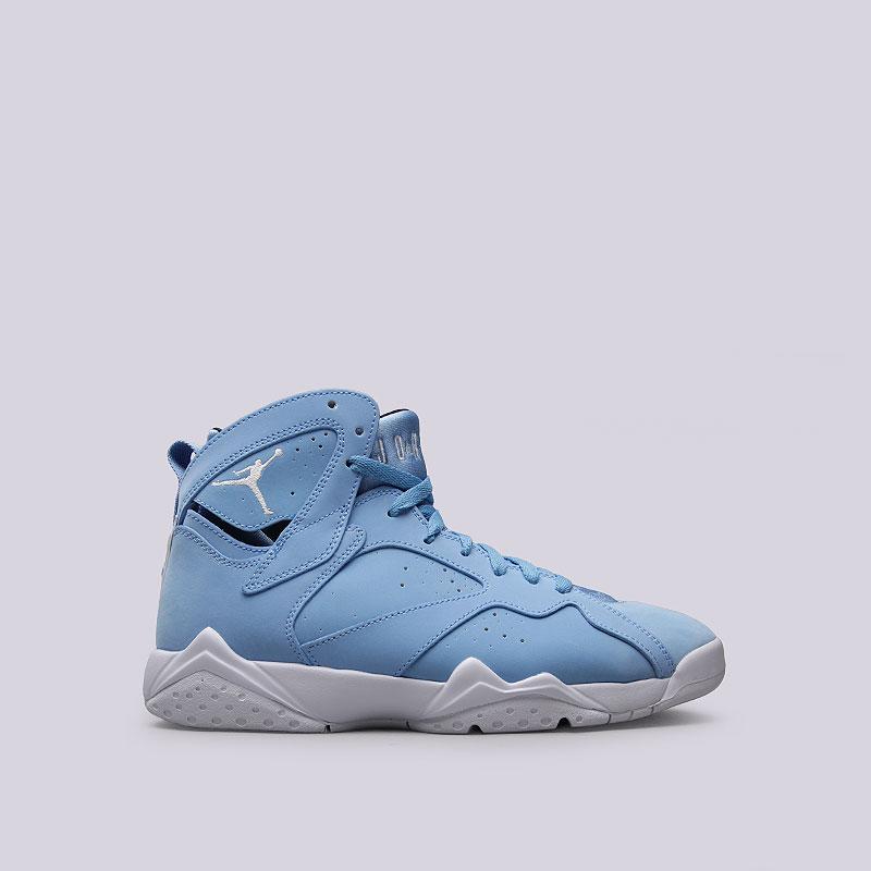 Кроссовки Jordan VII RetroКроссовки lifestyle<br>Кожа, синтетика, текстиль, резина<br><br>Цвет: Голубой, белый<br>Размеры US: 8;8.5;9;9.5;12<br>Пол: Мужской