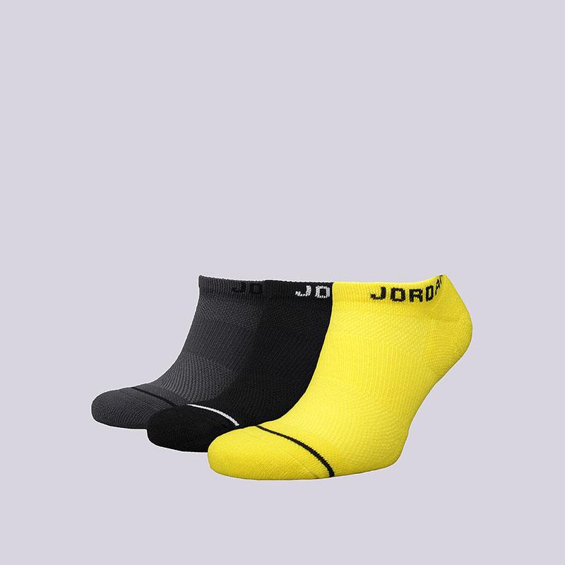 Носки Jordan No-show 3PPKНоски<br>Полиэстер, нейлон, эластан<br><br>Цвет: Чёрный, серый, жёлтый<br>Размеры US: M;L;XL<br>Пол: Мужской