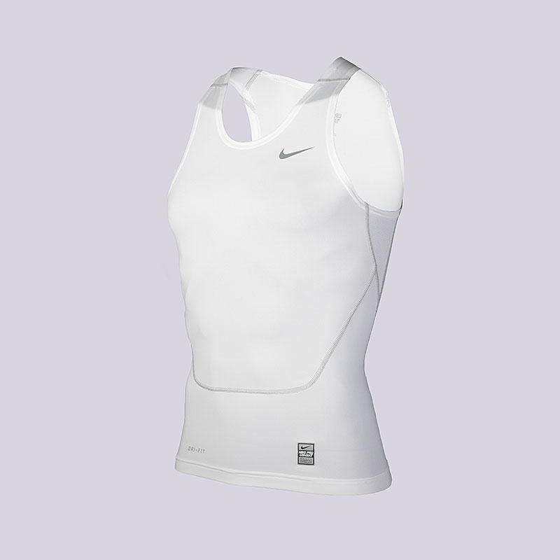 Майка Nike Core Compression TankКомпрессионное белье<br>Полиэстер, эластан<br><br>Цвет: Белый<br>Размеры US: S<br>Пол: Мужской
