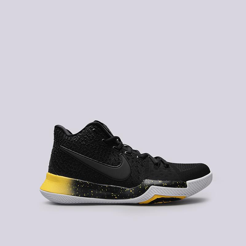 Кроссовки Nike Kyrie 3Кроссовки баскетбольные<br>Текстиль, резина, пластик<br><br>Цвет: Черный, желтый<br>Размеры US: 7.5;8;14<br>Пол: Мужской