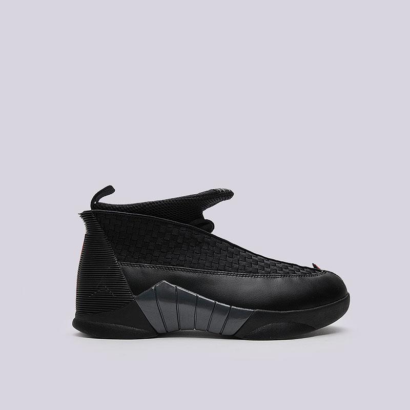 Кроссовки Jordan XV RetroКроссовки lifestyle<br>Текстиль, кожа, пластик, резина<br><br>Цвет: Чёрный<br>Размеры US: 14<br>Пол: Мужской