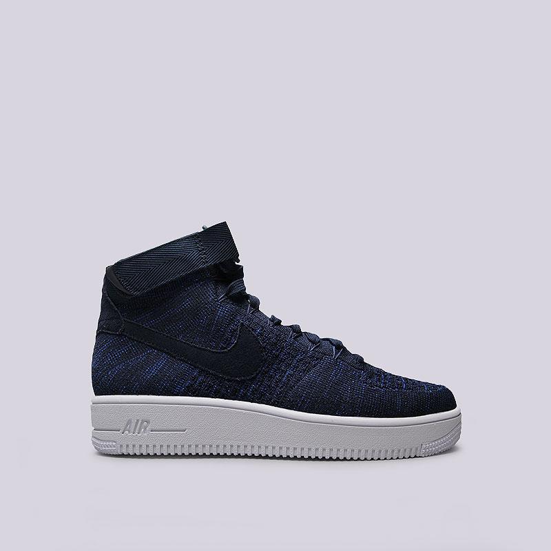 Кроссовки  Nike Sportswear Air Force 1 Ultra Flyknit MidКроссовки lifestyle<br>Текстиль, кожа, резина<br><br>Цвет: Синий<br>Размеры US: 8;8.5;9;9.5;10;10.5;11;11.5;12;12.5<br>Пол: Мужской
