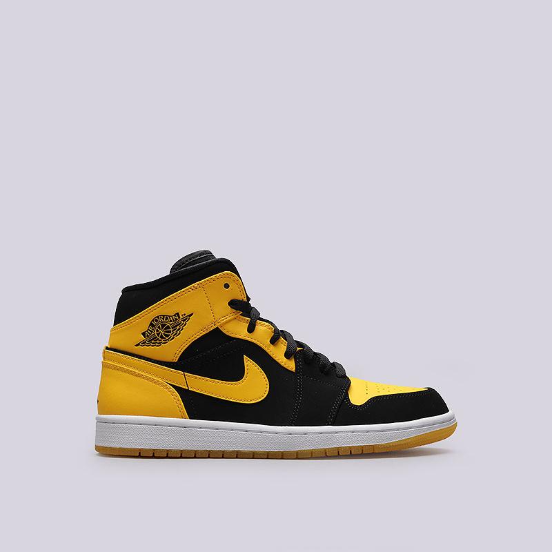Кроссовки Jordan 1 MidКроссовки lifestyle<br>Кожа, синтетика, текстиль, резина<br><br>Цвет: Чёрный, жёлтый<br>Размеры US: 15<br>Пол: Мужской