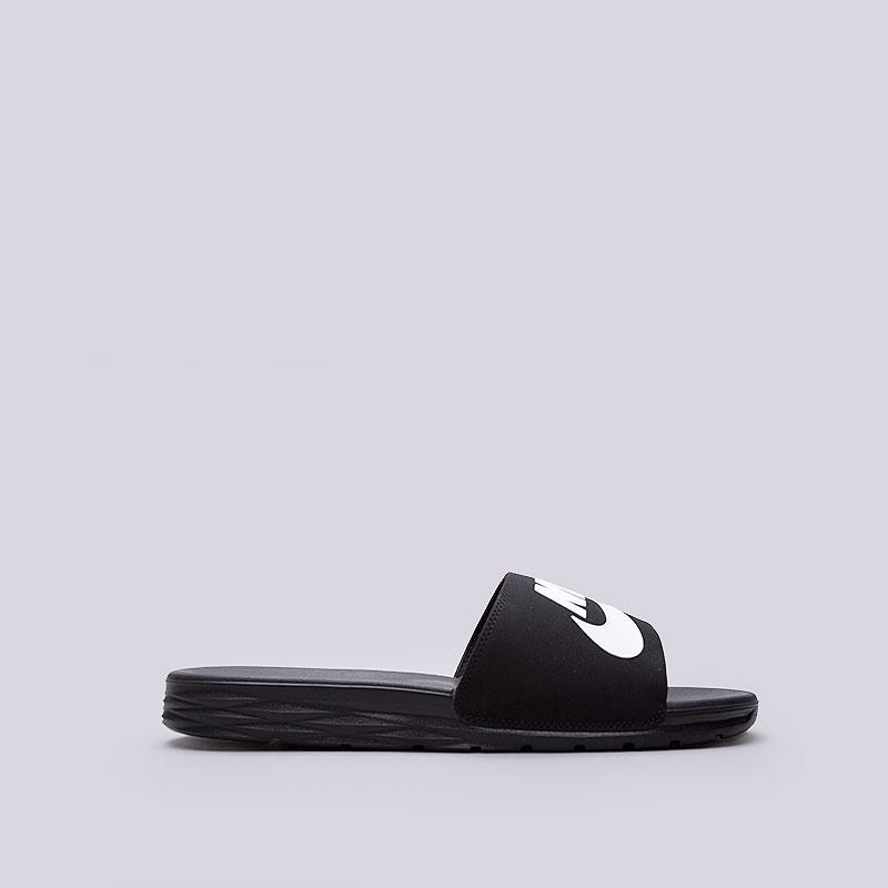 Сланцы Nike Sportswear Benassi Solarsoft SBСланцы, балетки<br>Синтетика, текстиль, пластик<br><br>Цвет: Чёрный<br>Размеры US: 12;13<br>Пол: Мужской