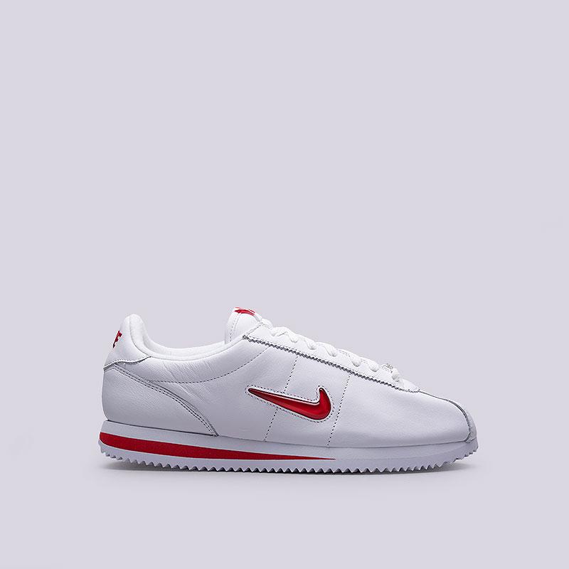 Кроссовки  Nike Sportswear Cortez Basic Jewel QS TZКроссовки lifestyle<br>Кожа, синтетика, текстиль, резина<br><br>Цвет: Белый<br>Размеры US: 8.5;9.5;10;10.5;11;11.5;12<br>Пол: Мужской