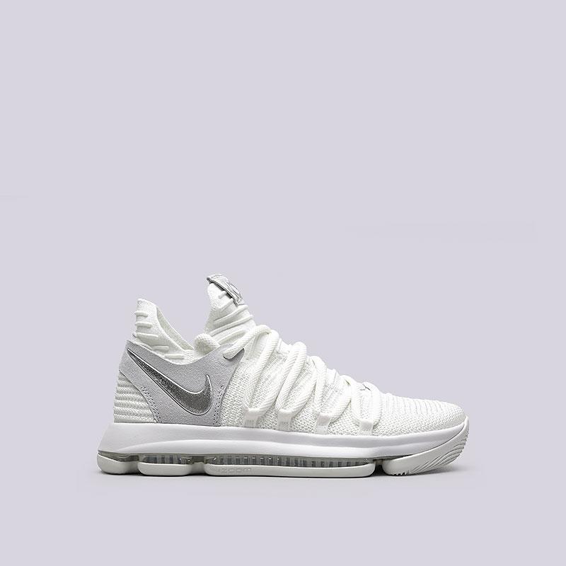Кроссовки  Nike Zoom KD 10Кроссовки баскетбольные<br>Текстиль, резина<br><br>Цвет: Белый<br>Размеры US: 7;7.5;8;8.5;9;9.5;10;10.5;11;11.5;12;12.5;13;13.5;14;15<br>Пол: Мужской