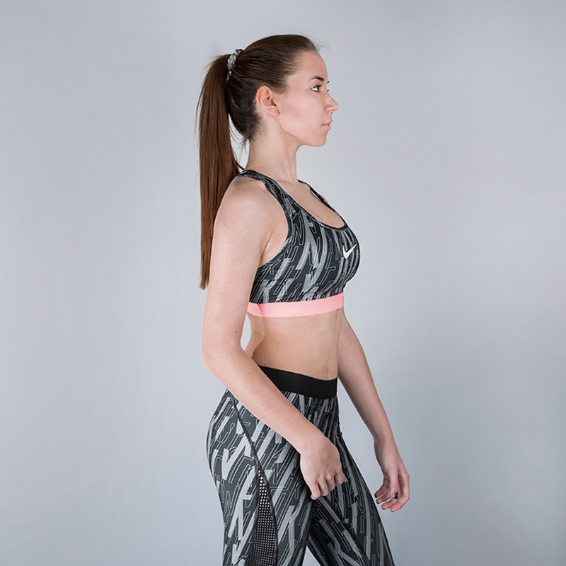Топ Nike Pro Classic Skew BraКомпрессионное белье<br>100% полиэстер<br><br>Цвет: Серый, розовый<br>Размеры US: S<br>Пол: Женский