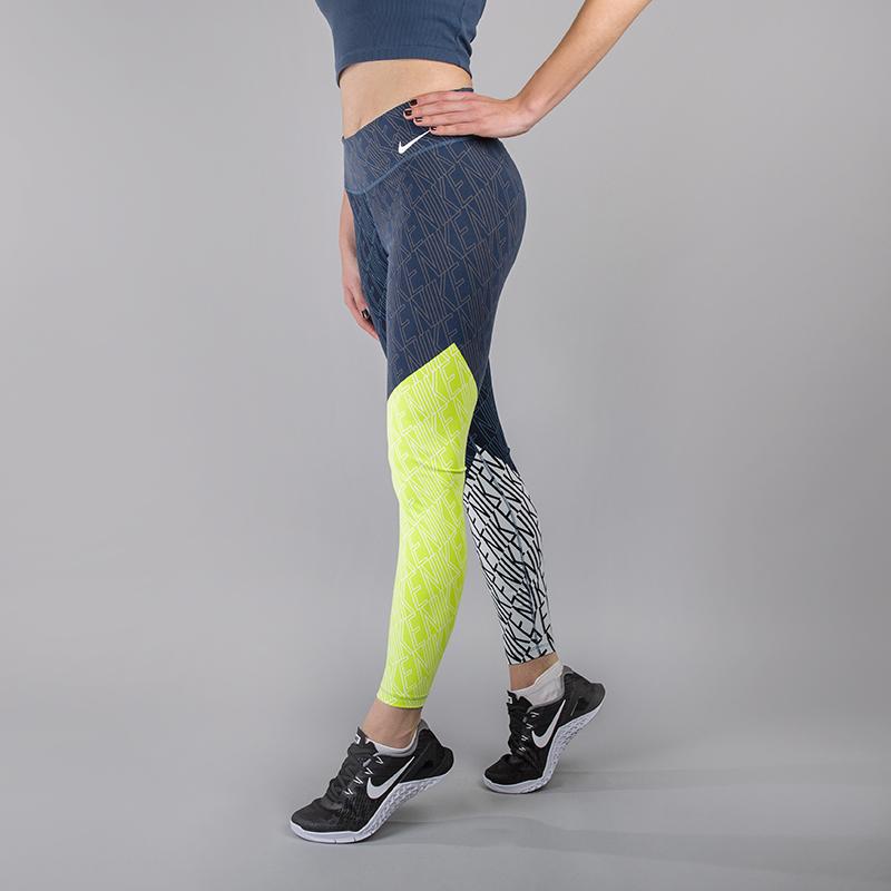 Леггинсы Nike Power LegendaryБрюки и джинсы<br>80% нейлон, 20% эластан<br><br>Цвет: Синий, белый, салатовый<br>Размеры US: XS;S;M;L<br>Пол: Женский