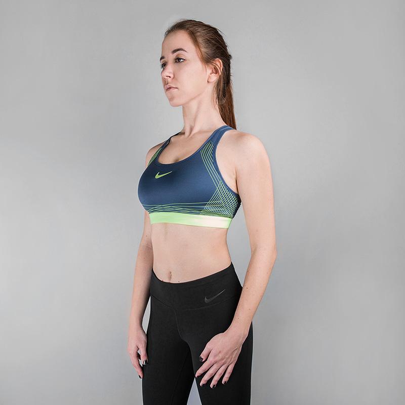 Топ Nike Pro Hyper Classic Sports BraБелье<br>Полистер, эластан<br><br>Цвет: Синий<br>Размеры US: S;M;L<br>Пол: Женский