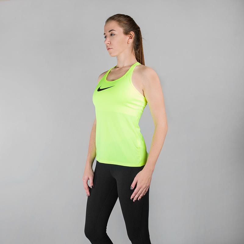 Майка Nike Dry Tank Slim SupportФутболки<br>Полиэстер, эластан, нейлон<br><br>Цвет: Неоновый желтый<br>Размеры US: M;L<br>Пол: Женский