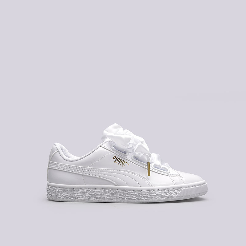 женские белые кроссовки puma basket heart patent wn s 36307302 - цена 282849450671e