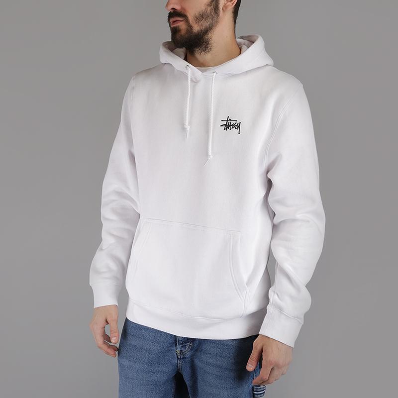 Толстовка Stussy Basic Stussy HoodТолстовки свитера<br>80% хлопок, 20% полиэстер<br><br>Цвет: Белый<br>Размеры US: S;L<br>Пол: Мужской
