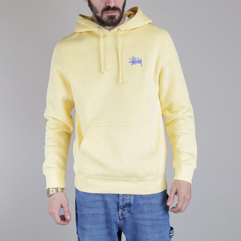 Толстовка Stussy Basic Stussy HoodТолстовки свитера<br>80% хлопок, 20% полиэстер<br><br>Цвет: Желтый<br>Размеры US: S;M<br>Пол: Мужской