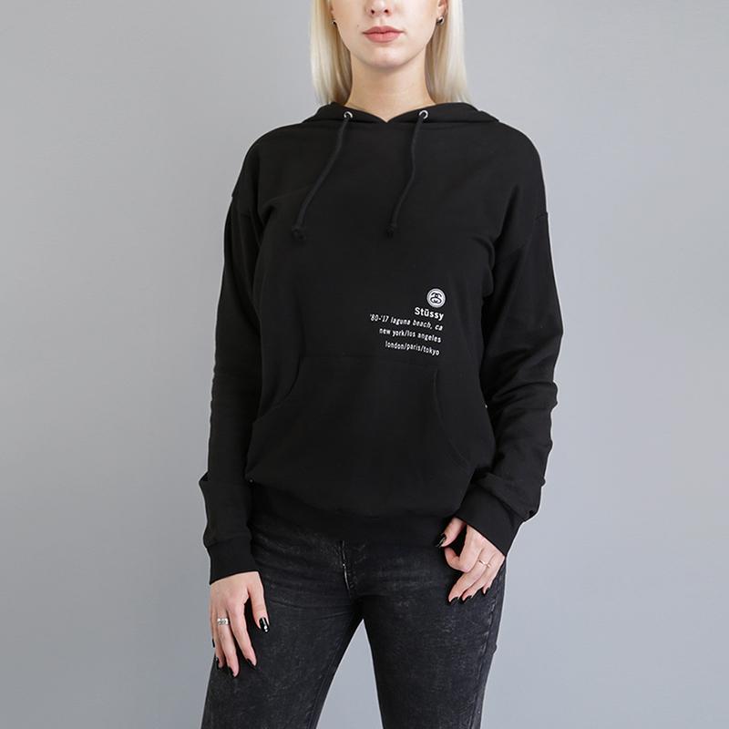 Толстовка Stussy 80-17 HoodТолстовки свитера<br>99% хлопок, 1% спандекс<br><br>Цвет: Черный<br>Размеры US: XS;S;M;L<br>Пол: Женский