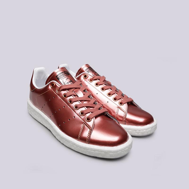 женские бордовые  кроссовки adidas stan smith w BB0107 - цена, описание, фото 4
