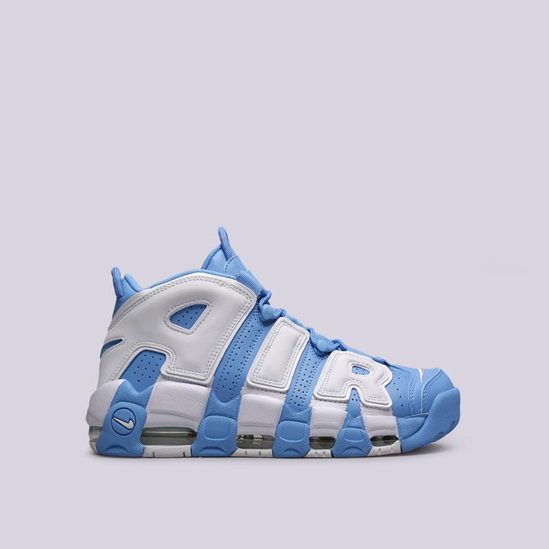 Кроссовки Nike Air More Uptempo 96Кроссовки lifestyle<br>Кожа, синтетика, текстиль, резина, пластик<br><br>Цвет: Голубой, белый<br>Размеры US: 11.5<br>Пол: Мужской
