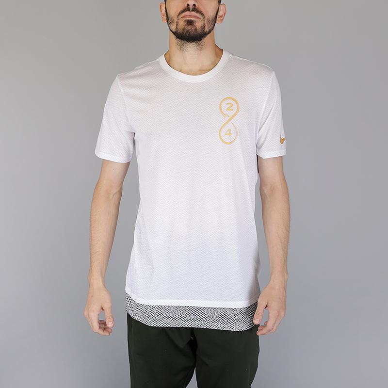 Футболка Nike Dry Kobe Basketball T-ShirtФутболки<br>75% полиэстер, 13% хлопок, 12% вискоза<br><br>Цвет: Белый<br>Размеры US: S;M;L;XL;2XL<br>Пол: Мужской