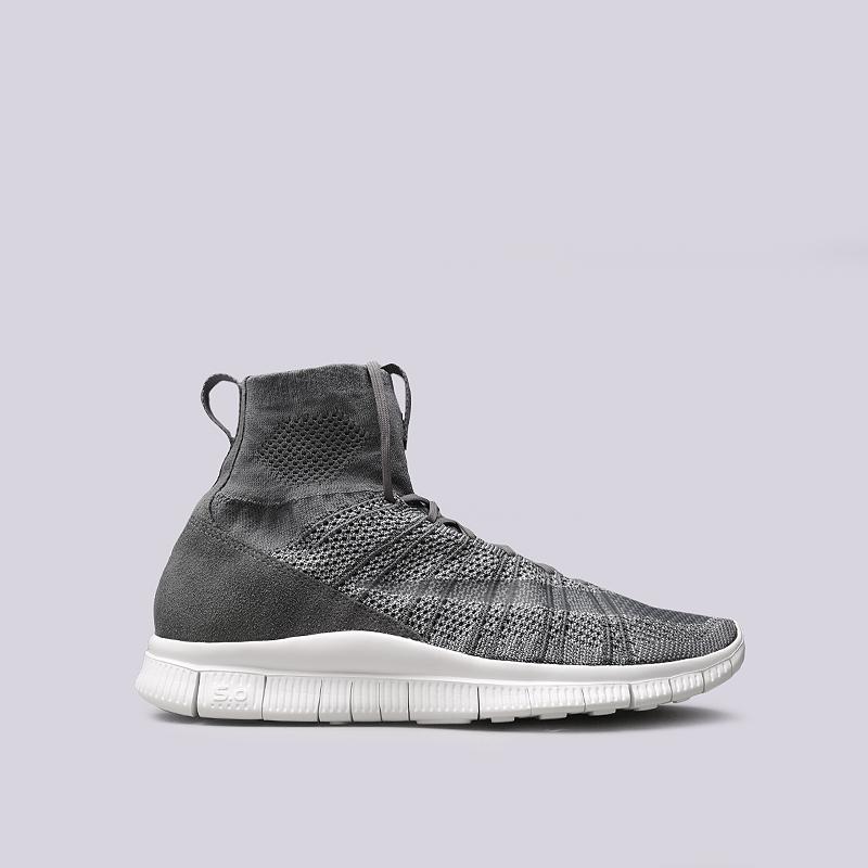 Кроссовки Nike Free Flyknit MercurialКроссовки lifestyle<br>Текстиль, резина<br><br>Цвет: Серый<br>Размеры US: 11.5<br>Пол: Мужской