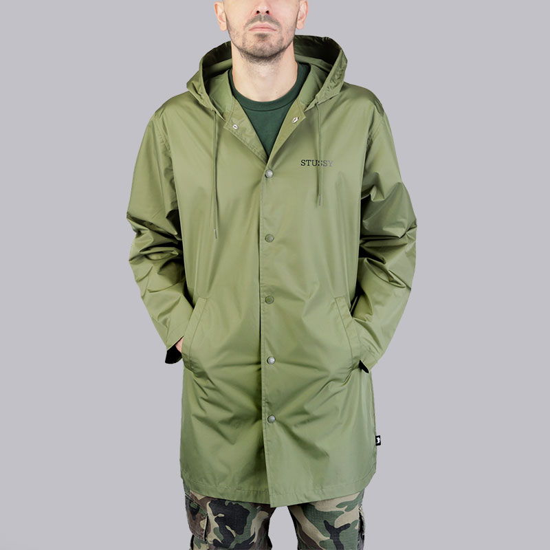 Куртка Stussy Tony Long Hooded Coach JacketКуртки, пуховики<br>Полиэстер<br><br>Цвет: Зелёный<br>Размеры US: M;L<br>Пол: Мужской
