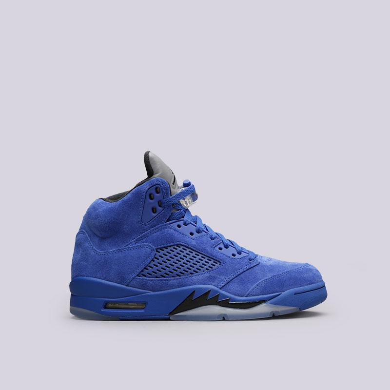 Кроссовки Jordan V RetroКроссовки lifestyle<br>Кожа, пластик, текстиль, резина<br><br>Цвет: Синий<br>Размеры US: 7.5;8;8.5;9;10.5;11<br>Пол: Мужской