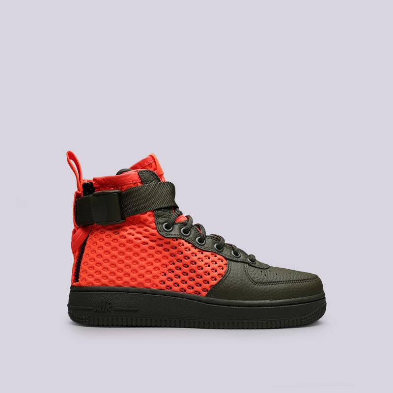 Кроссовки Nike Sportswear SF Air Force 1 Mid QSКроссовки lifestyle<br>Текстиль, кожа, резина<br><br>Цвет: Зелёный, оранжевый<br>Размеры US: 7;9;9.5;10;10.5;11;11.5;12<br>Пол: Мужской