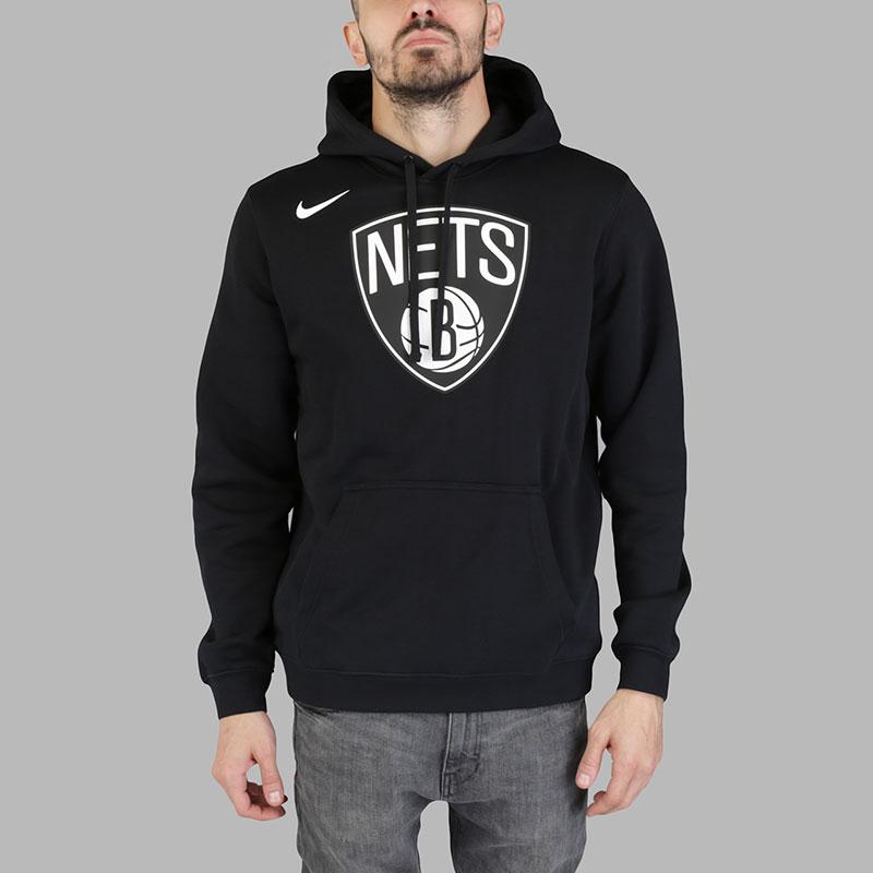 1e545e15 мужскую черную толстовка nike brooklyn nets hoodie club logo 881113-010 -  цена, описание