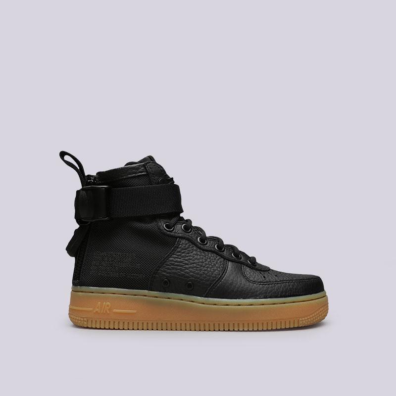 Кроссовки Nike WMNS SF Air Force 1 MidКроссовки lifestyle<br>Кожа, текстиль, резина<br><br>Цвет: Черный<br>Размеры US: 6;6.5;7;8.5<br>Пол: Женский