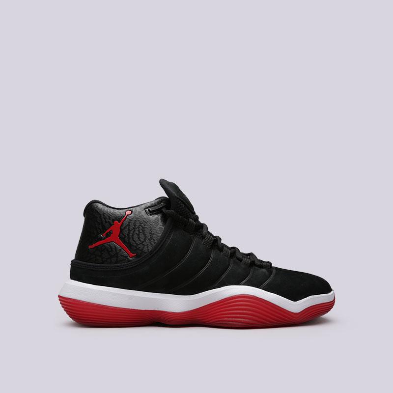 Кроссовки Jordan Super.Fly 2017Кроссовки баскетбольные<br>Кожа, синтетика, текстиль, резина<br><br>Цвет: Черный<br>Размеры US: 8<br>Пол: Мужской