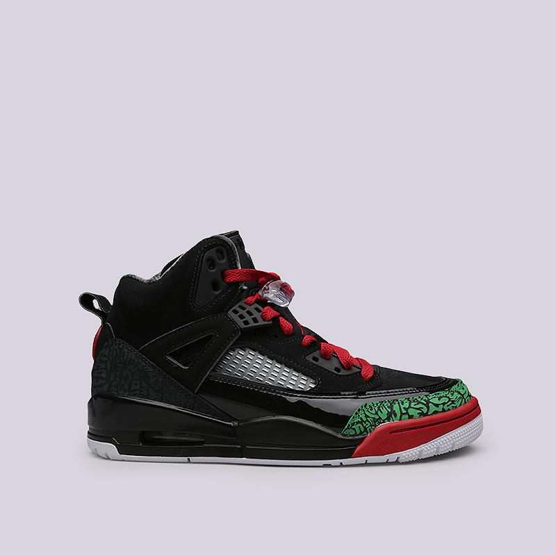 Кроссовки Jordan SpizikeКроссовки lifestyle<br>Кожа, синтетика, текстиль, резина, пластик<br><br>Цвет: Черный, зеленый, красный<br>Размеры US: 8;9;9.5<br>Пол: Мужской