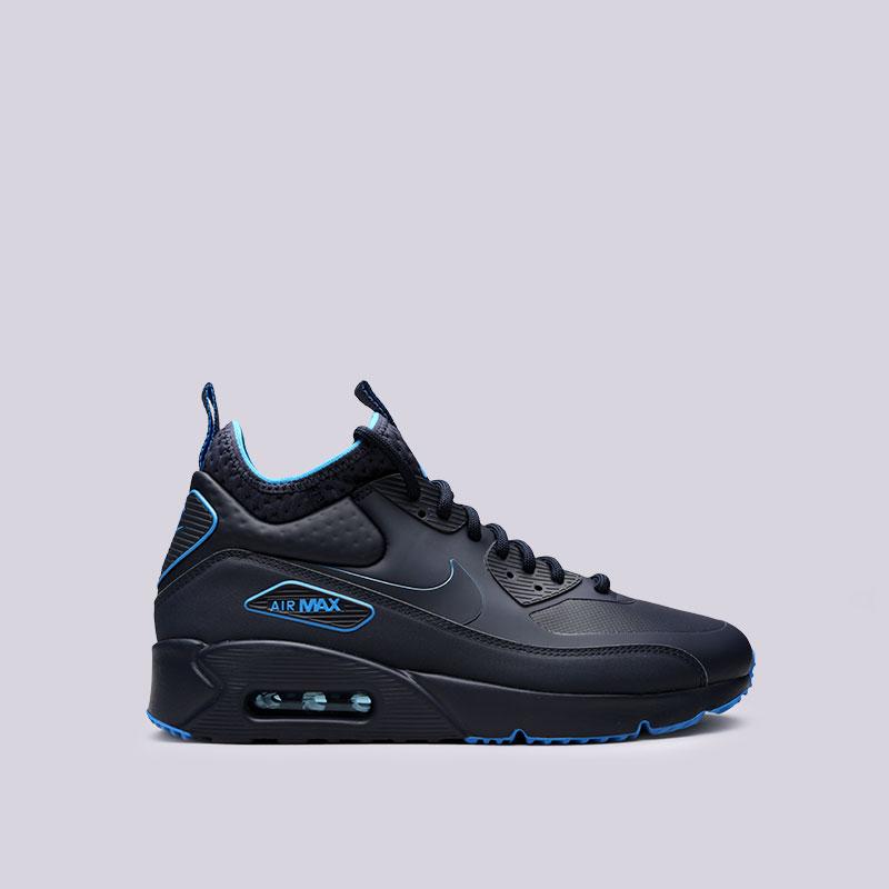 Кроссовки Nike Air Max 90 Ultra Mid Winter SEКроссовки lifestyle<br>Пластик, текстиль, резина<br><br>Цвет: Синий<br>Размеры US: 8;8.5;9;9.5;10;10.5;11;11.5;12;12.5;15<br>Пол: Мужской
