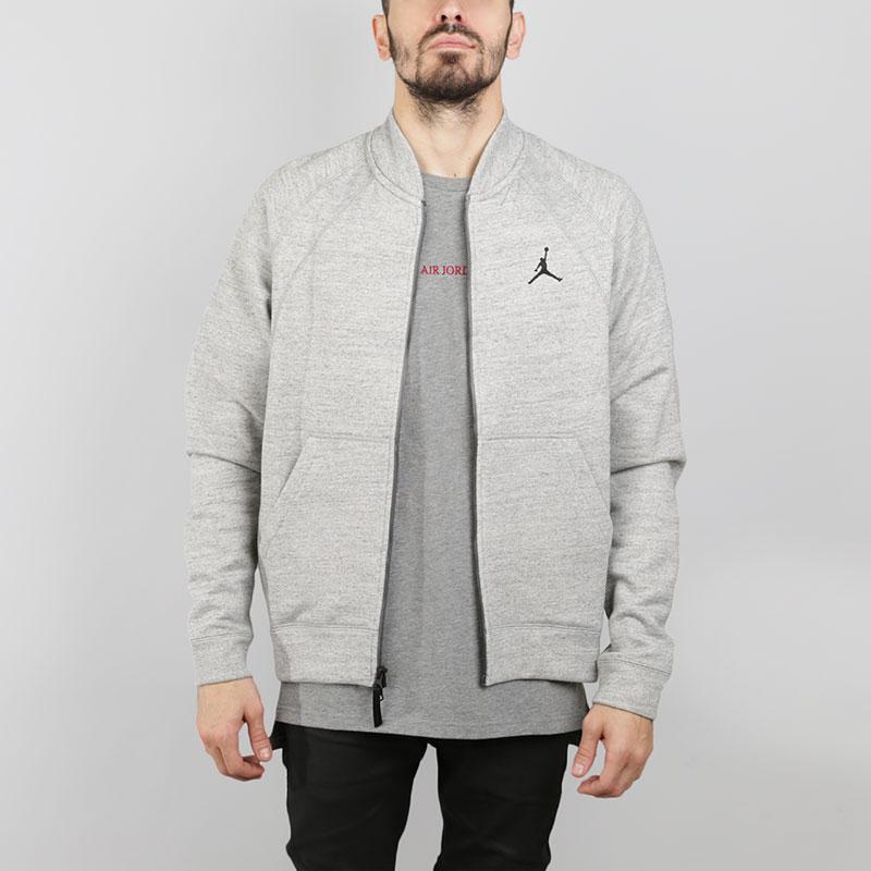 Толстовка Jordan Fleece BomberТолстовки свитера<br>Хлопок, вискоза, полиэстер<br><br>Цвет: Серый<br>Размеры US: S;M;L;XL;2XL<br>Пол: Мужской