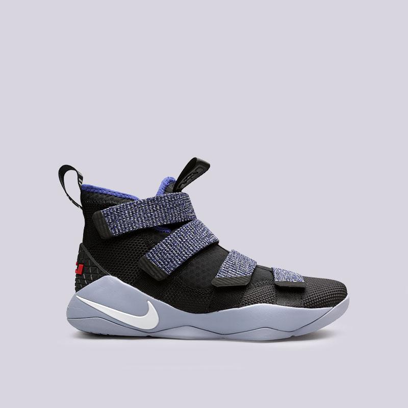 Кроссовки Nike Lebron Soldier XIКроссовки баскетбольные<br>Текстиль, резина<br><br>Цвет: Черный<br>Размеры US: 7.5;8;9;9.5<br>Пол: Мужской