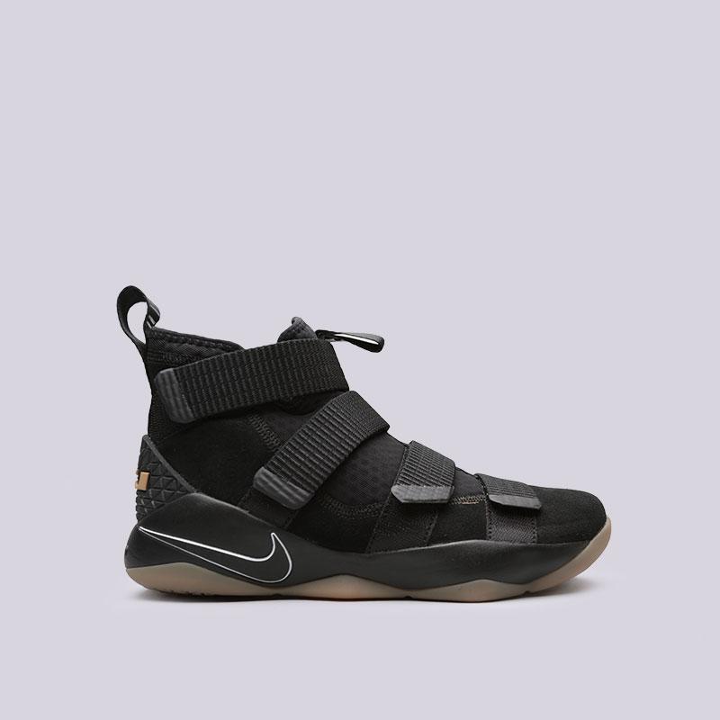 Кроссовки Nike Lebron Soldier XIКроссовки баскетбольные<br>Кожа, текстиль, резина<br><br>Цвет: Черный<br>Размеры US: 7;8;8.5;9;9.5;10.5;11<br>Пол: Мужской
