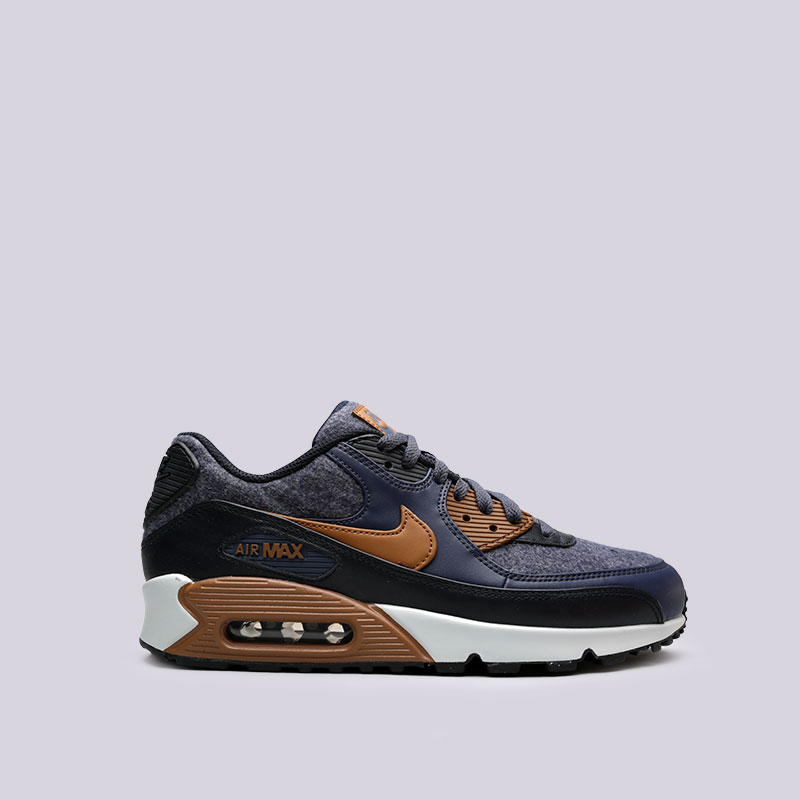 Кроссовки Nike Air Max 90 PremiumКроссовки lifestyle<br>Кожа, синтетика, текстиль, резина<br><br>Цвет: Синий<br>Размеры US: 8;8.5;9;10;11;11.5;12;12.5;15<br>Пол: Мужской