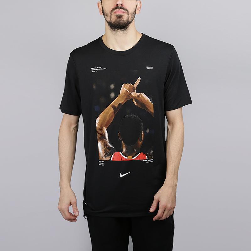 Футболка Nike Damian Lillard DryФутболки<br>75% полиэстер, 13% хлопок, 12% вискоза<br><br>Цвет: Черный<br>Размеры US: S;M;L;XL;2XL<br>Пол: Мужской