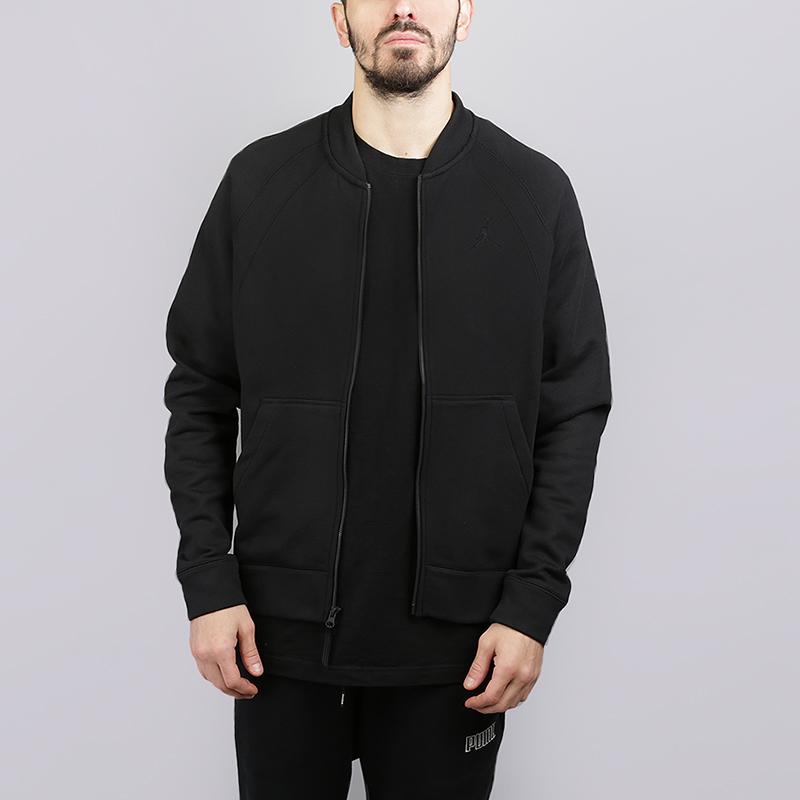 Толстовка Jordan Jordan Sportswear Fleece BomberТолстовки свитера<br>73% хлопок, 18% вискоза, 9% полиэстер<br><br>Цвет: Черный<br>Размеры US: M;L;2XL<br>Пол: Мужской