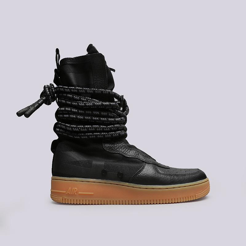 Кроссовки Nike SF Air Force 1 HiКроссовки lifestyle<br>Кожа, текстиль, резина<br><br>Цвет: Черный<br>Размеры US: 12<br>Пол: Мужской