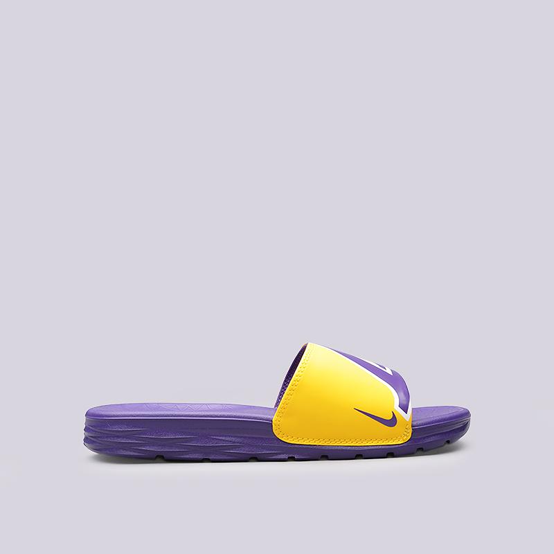 Сланцы Nike Benassi Solarsoft NBAСланцы, балетки<br>Синтетика, текстиль, пластик<br><br>Цвет: Фиолетовый, желтый<br>Размеры US: 5;7;8;9;10;11;12;13;14;15;16