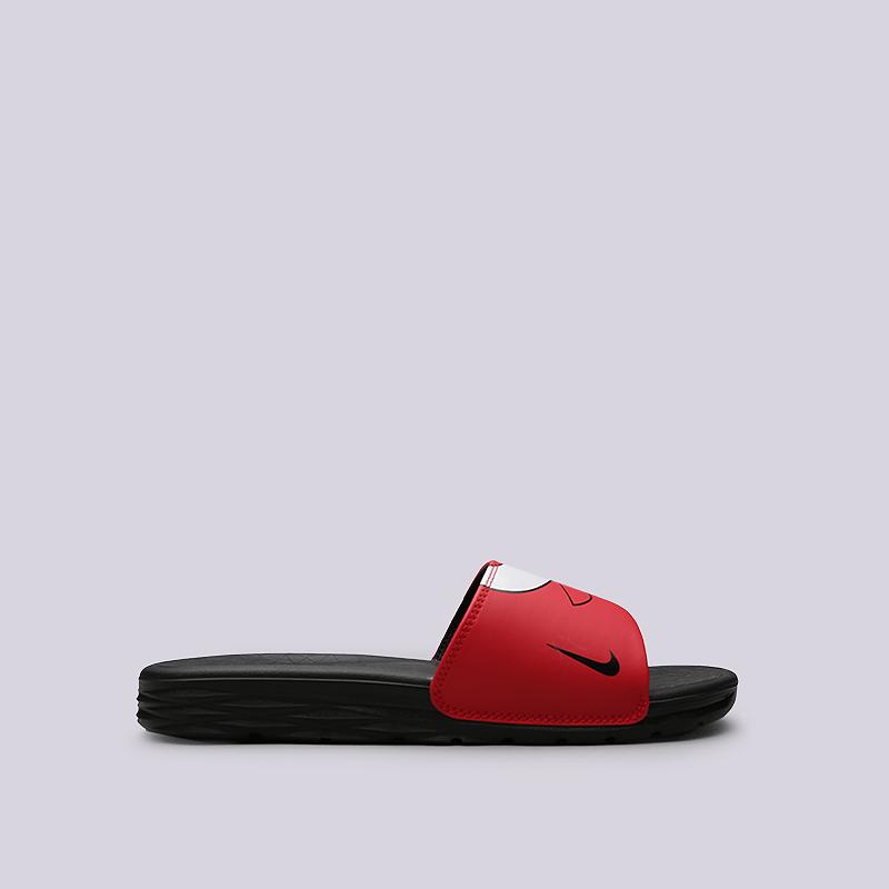 Сланцы Nike Benassi Solarsoft NBAСланцы, балетки<br>Синтетика, текстиль, пластик<br><br>Цвет: Черный, красный<br>Размеры US: 5;6;7;12;13;15;16