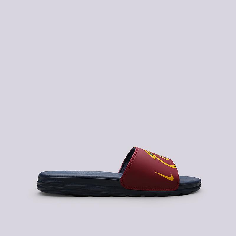 Сланцы Nike Benassi Solarsoft NBAСланцы, балетки<br>Синтетика, текстиль, пластик<br><br>Цвет: Синий, бордовый<br>Размеры US: 5;6;7;8;9;10;11;12;13;14;15;16