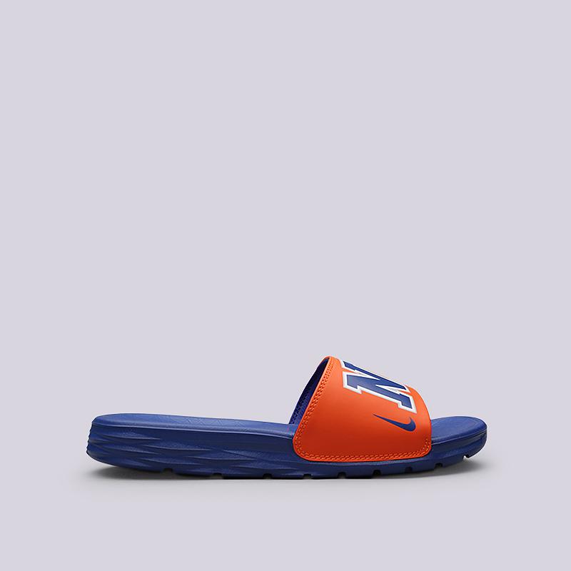 Сланцы Nike Benassi Solarsoft NBAСланцы, балетки<br>Синтетика, текстиль, пластик<br><br>Цвет: Синий, оранжевый<br>Размеры US: 5;6;7;8;9;10;11;12;13;14;15;16
