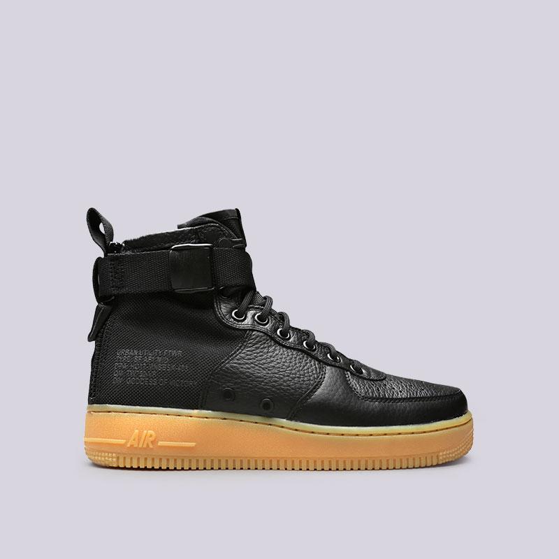 Кроссовки Nike SF Air Force 1 MidКроссовки lifestyle<br>Кожа, текстиль, резина<br><br>Цвет: Черный<br>Размеры US: 8<br>Пол: Мужской
