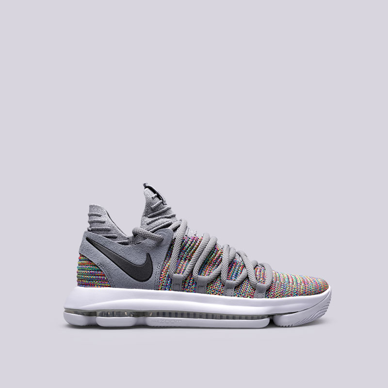 Кроссовки Nike Zoom KD 10Кроссовки баскетбольные<br>Текстиль, резина<br><br>Цвет: Серый<br>Размеры US: 8;12<br>Пол: Мужской